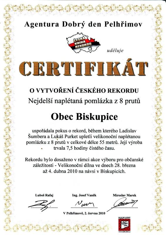 Certifikát k rekordu